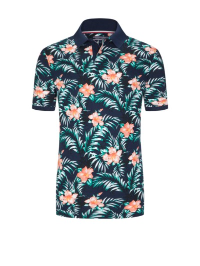 Poloshirt, Floral-Muster in MARINE