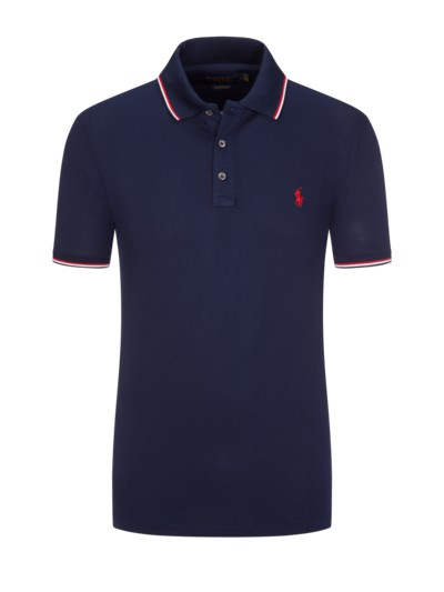 Poloshirt mit Stretchanteil, Custom Slim Fit in MARINE