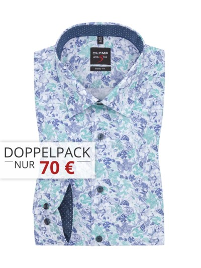 Level five body fit Hemd, Flower-Print in HELLGRUEN