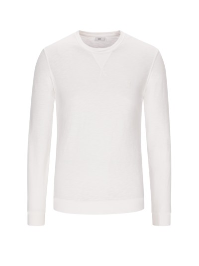 Sweatshirt, O-Neck, in Slub-Yarn-Optik in WEISS
