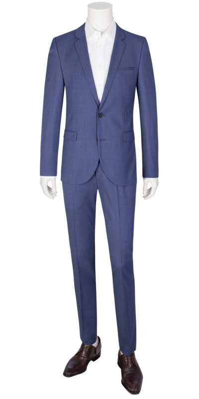 Businessanzug mit Minimaldessin, Extra Slim Fit in BLAU