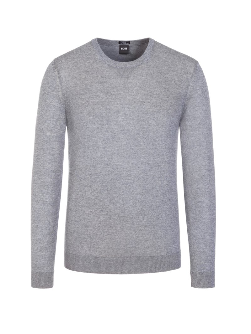 Basic Pullover, O-Neck, Slim Fit in ANTHRAZIT