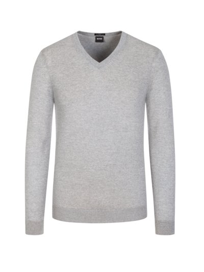 Pullover, V-Neck, Slim Fit in GRAU