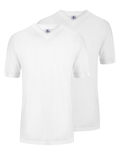 Doppelpack V-Neck T-Shirt, Classic Fit in WEISS