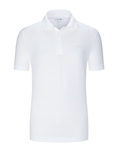 Stretch-Poloshirt in Baumwollpique, Paris, Regular Fit in WEISS