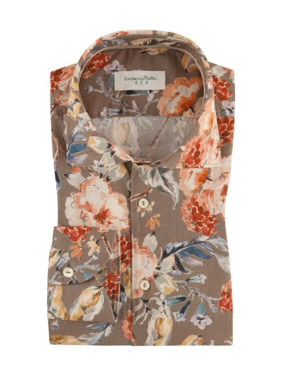 Modisches Oberhemd, in sommerlichem Blumenprint, Slim Fit in BRAUN
