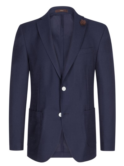Blazer in elegantem Strukturmuster, Shaped Fit in MARINE