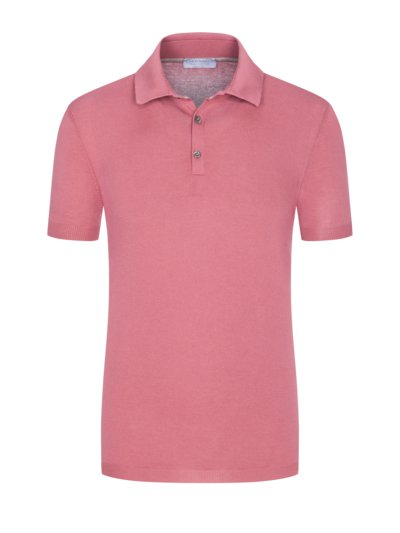 Hochwertiges Strickpolo in Fresh-Cotton-Qualität in ROSE