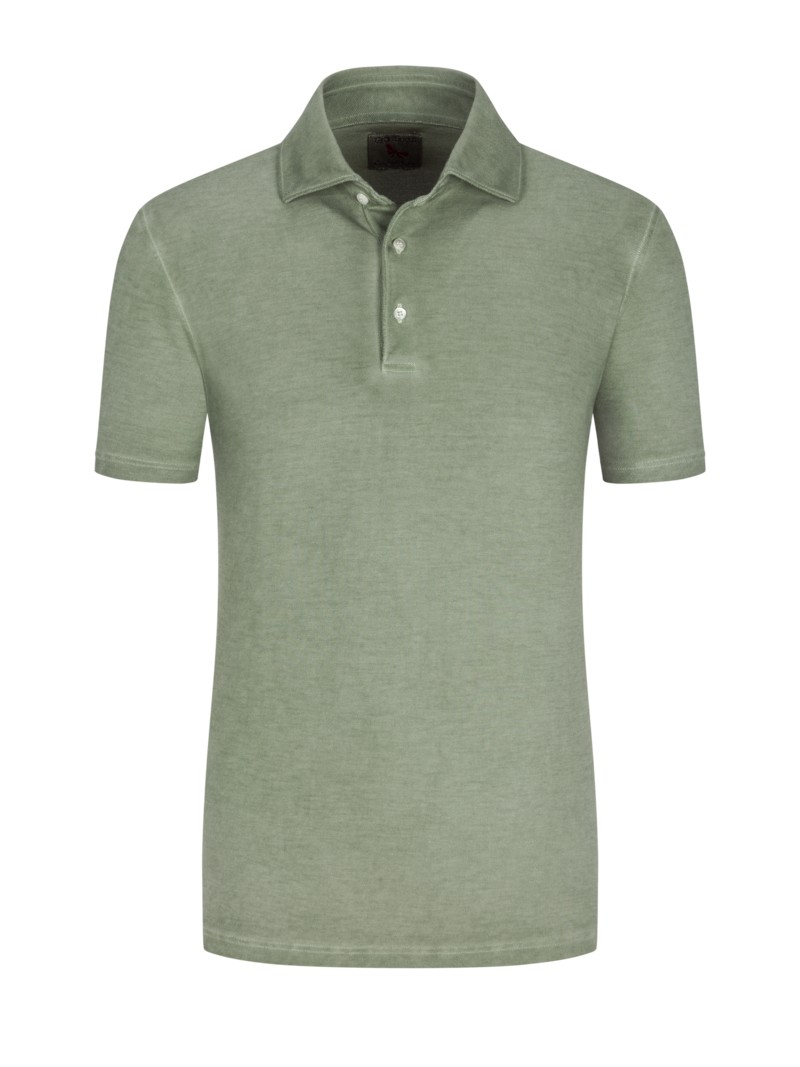 Poloshirt in Washed-Optik in OLIV