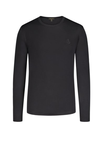 Langarm-Shirt, O-Neck in SCHWARZ