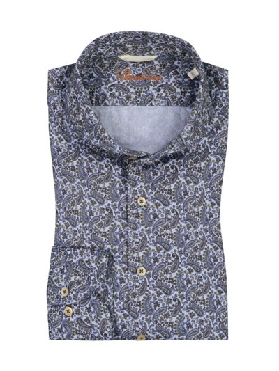 Freizeithemd im Paisley-Muster, Fitted Body in BLAU
