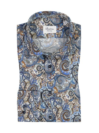 Oberhemd im Paisley-All-Over-Print, Fitted Body in BLAU