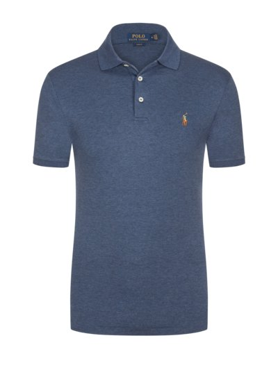 Poloshirt mit Soft-Touch Baumwolle, Slim Fit in BLAU