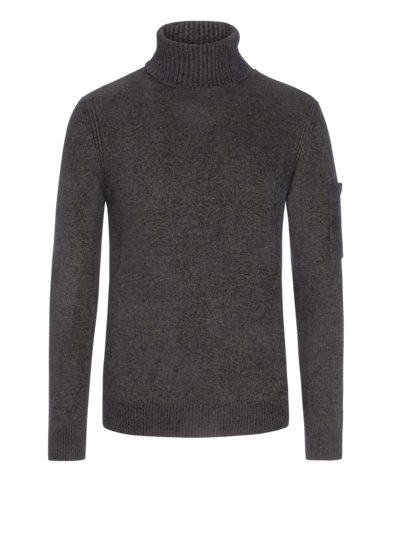 Rollkragenpullover, Fleece Knit in OLIV