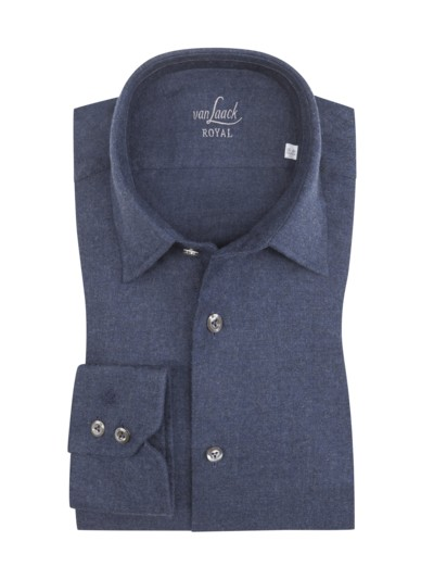 Leichtes Flanellhemd, Tailor Fit in BLAU