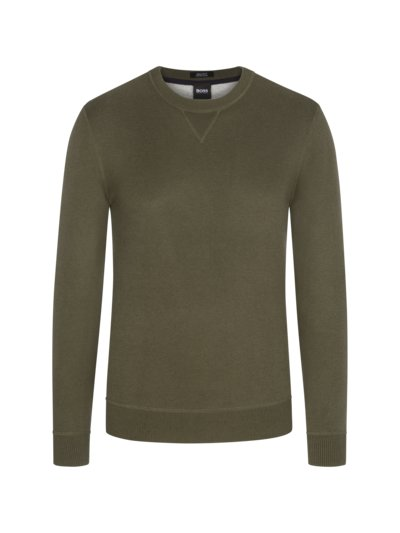 Pullover im Wollmix, Regular Fit in OLIV