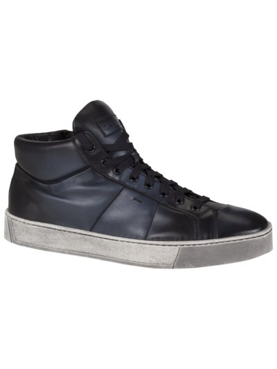High-Top Ledersneaker in BLAU