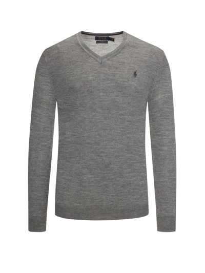 V-Neck Pullover aus 100% Merinowolle, Slim Fit in GRAU