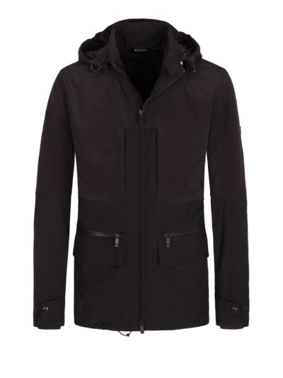 Modische Freizeitjacke in Softshell-Optik in SCHWARZ