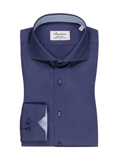 Businesshemd in Twofold-Super-Cotton, Fitted Body in MARINE