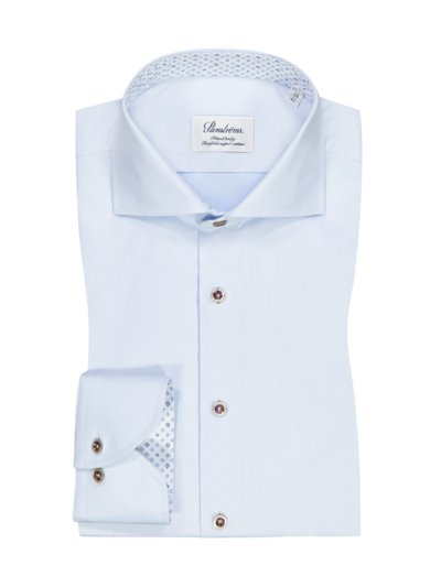 Businesshemd in Twofold-Super-Cotton, Fitted Body in HELLBLAU