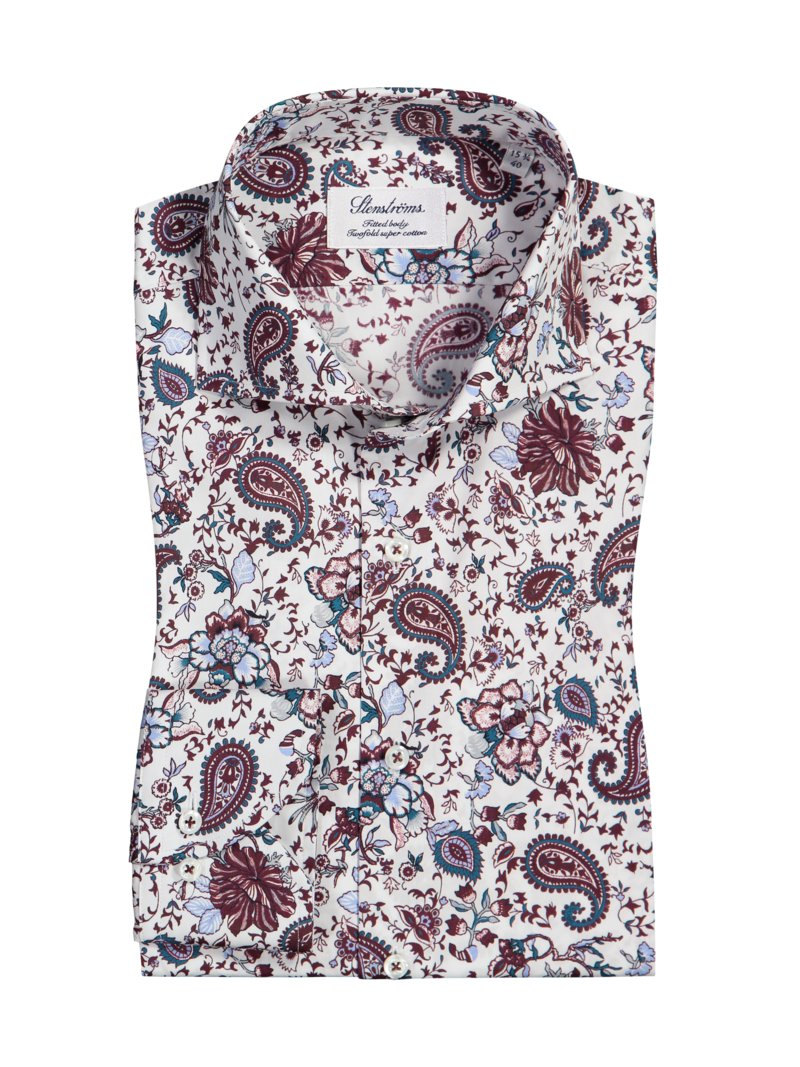 Oberhemd im Paisley-Print, Fitted Body in WEISS