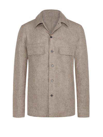 Exklusives Leinen-Overshirt in BRAUN
