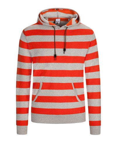 Sweatshirt in Ringeloptik, mit Kapuze in ORANGE