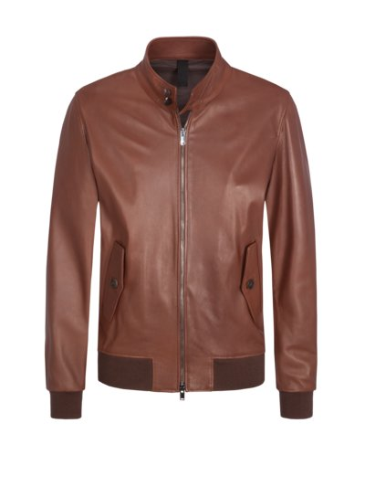 Lederjacke in Blouson-Form in BRAUN