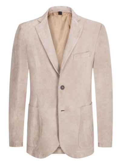 Blazer in Veloursleder in BEIGE