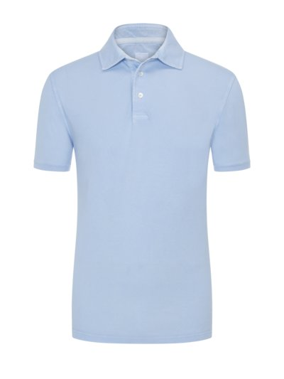 Poloshirt mit Frosted-Waschung in HELLBLAU