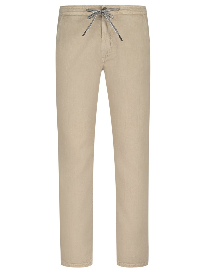 Superleichte Chino im Denim-Look, Baumwoll-Leinen-Mix in BEIGE