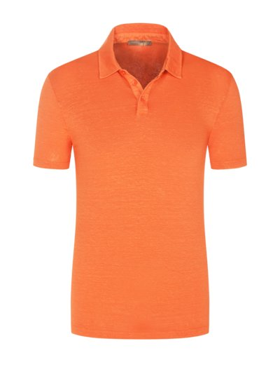 Poloshirt aus Leinen mit Stretchanteil in ORANGE