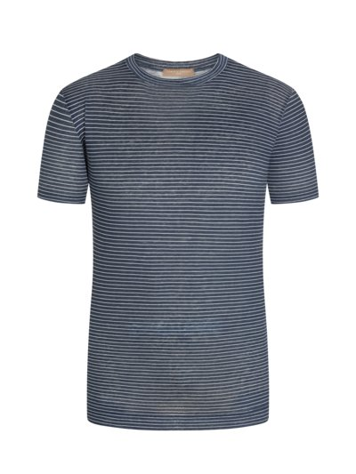 T-Shirt aus 100% Leinen, Natural-Stretch in MARINE