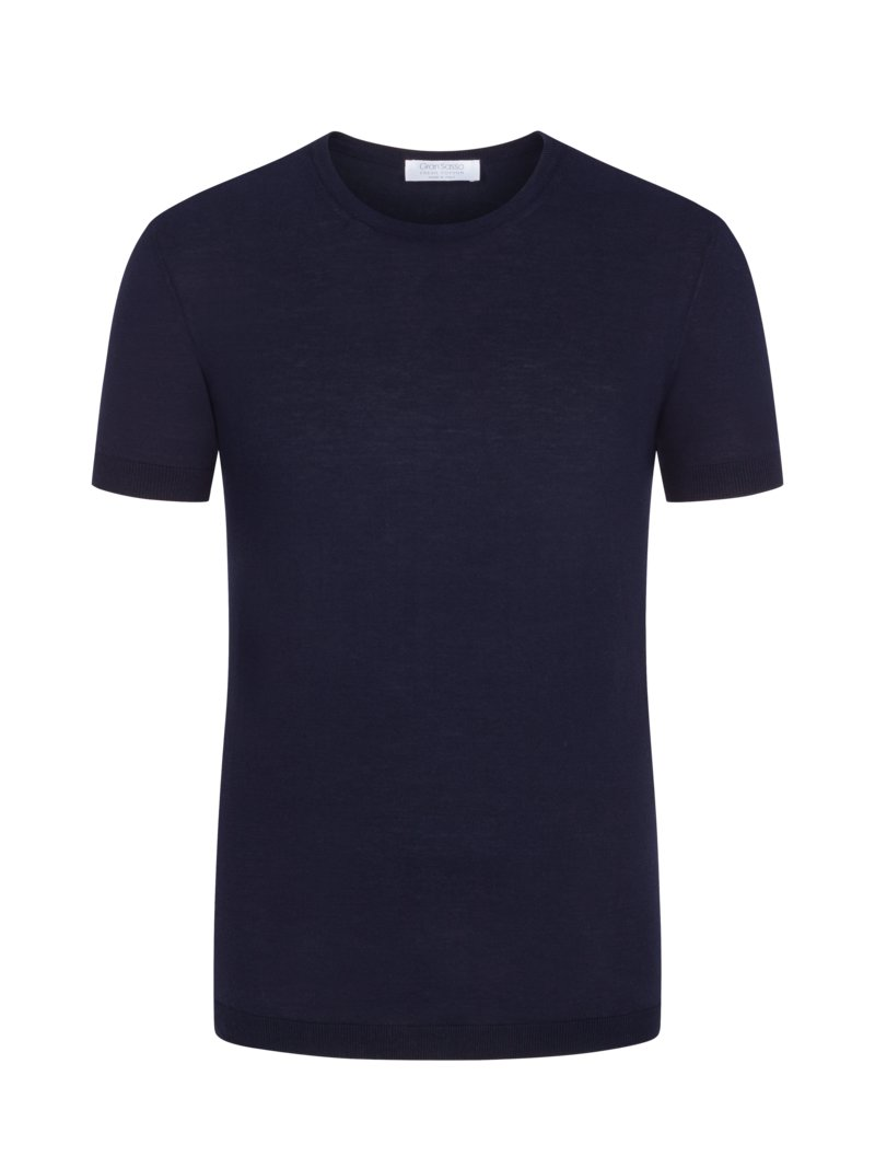 T-Shirt im Baumwoll-Strick, 'Fresh-Cotton' in MARINE