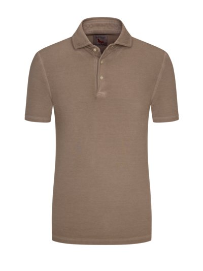 Poloshirt in Washed-Optik in BRAUN
