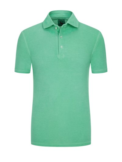 Poloshirt in Washed-Optik in GRUEN