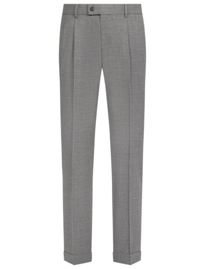 Bundfaltenhose mit Stretchanteil, Faenza, Slim Fit in GRAU
