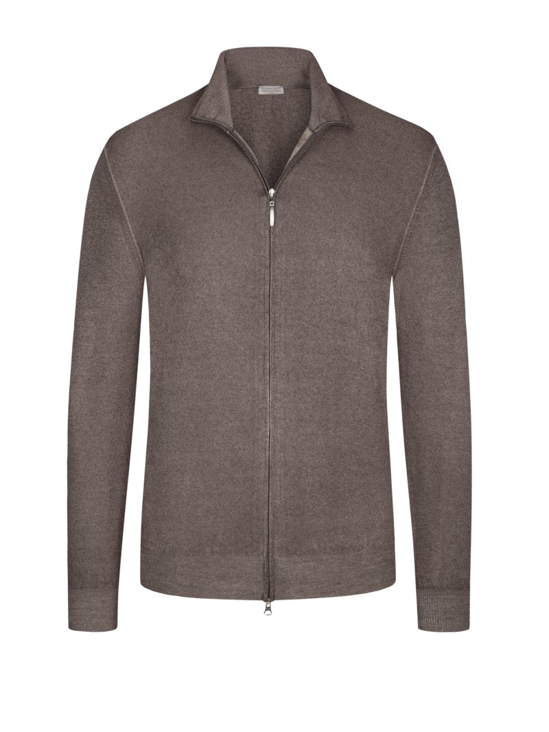 Hochwertige Strickjacke, 100 % Summer Cashmere in TAUPE