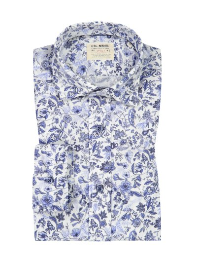 Freizeithemd im Blumen-Print, Shaped Fit in MARINE