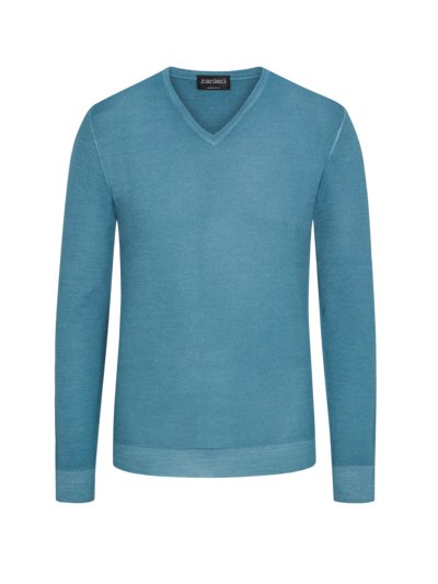 Pullover in Sommer-Schurwolle, V-Neck in BLAU