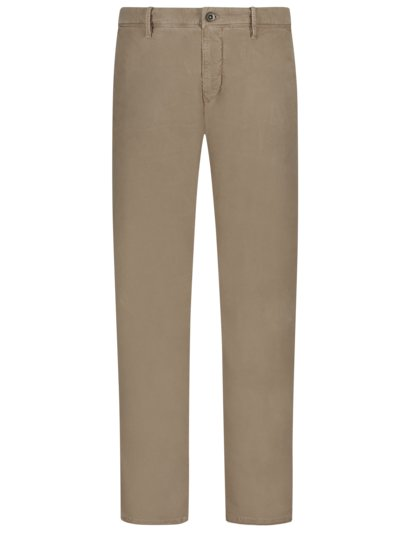 Baumwollchino mit Stretchanteil im Washed-Look, Slim Fit in TAUPE