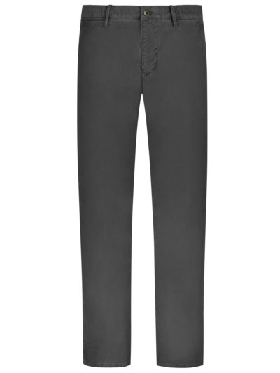 Baumwollchino mit Stretchanteil im Washed-Look, Slim Fit in ANTHRAZIT