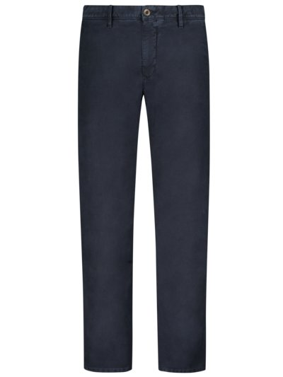 Baumwollchino mit Stretchanteil im Washed-Look, Slim Fit in MARINE