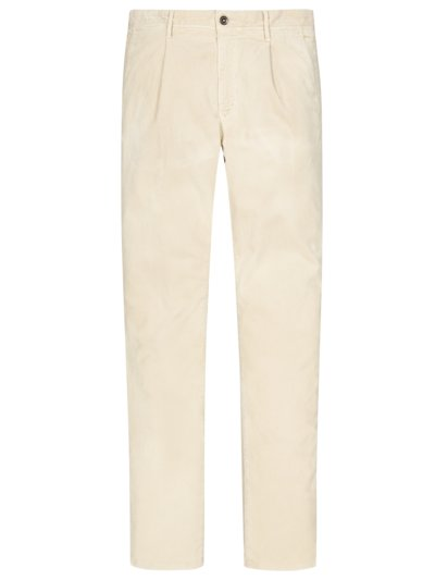 Cordhose mit Bundfalte in OFF-WHITE