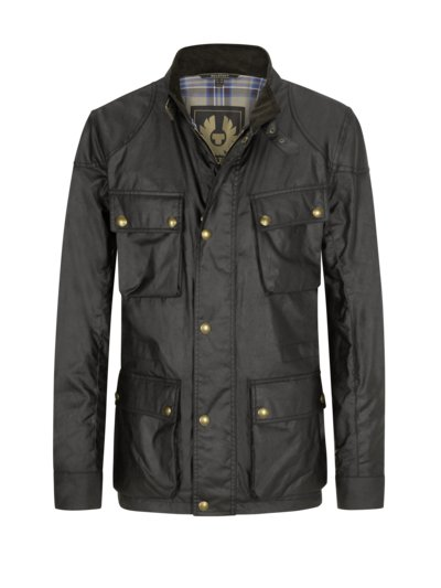 Fieldjacket in gewachster Baumwolle in OLIV