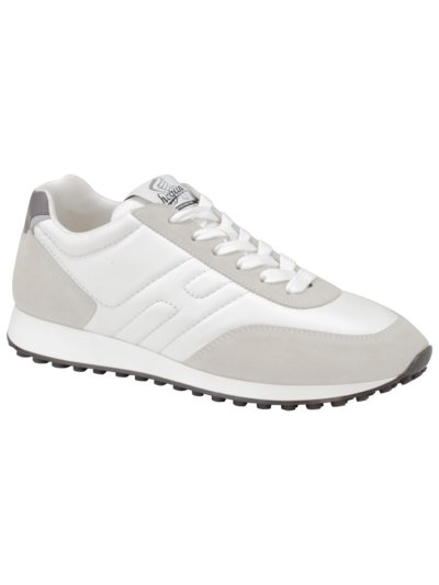 Ledersneaker mit Velours-Patches in OFFWHITE