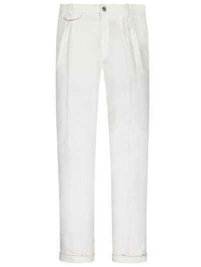 Cord-Chino mit Bundfalte, Amalfi, Relaxed Fit in OFFWHITE