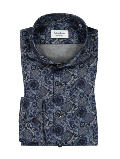 Flanellhemd mit Paisley-Muster, Fitted Body in BLAU