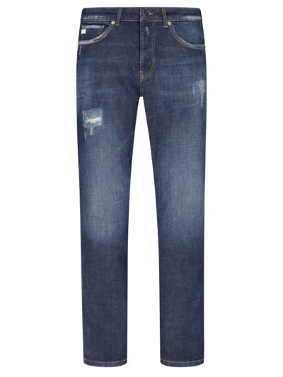 Jeans im Destroyed-Look, U2, Slim Fit in MARINE